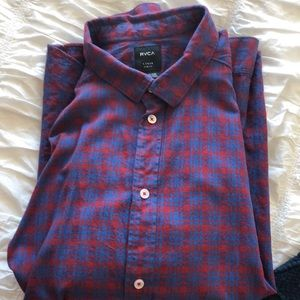 RVCA large slim fit blue and red flannel